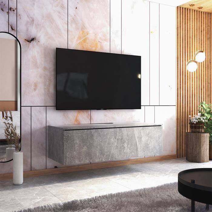 Meuble TV - SKYLARA - 140 cm - béton - style moderne
