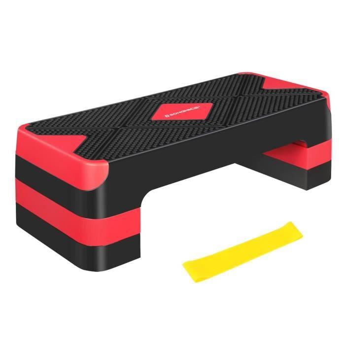 SONGMICS Step de fitness, Stepper d'aérobic, réglable sur 3 hauteurs (10-15-20 cm), Marche d'exercice, Noir et Rouge STE684R01