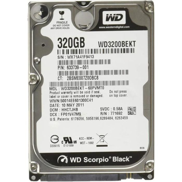 WD Black Mobile WD3200BEKT Disque dur interne 2.5'' SATA II 7200 tours- min Mmoire cache 16Mo 320 Go