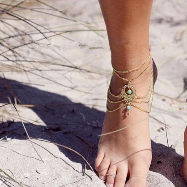CHAINE DE CHEVILLE CHAINE DE CHEVILLE Femmes Barefoot Beach Sandal Pi