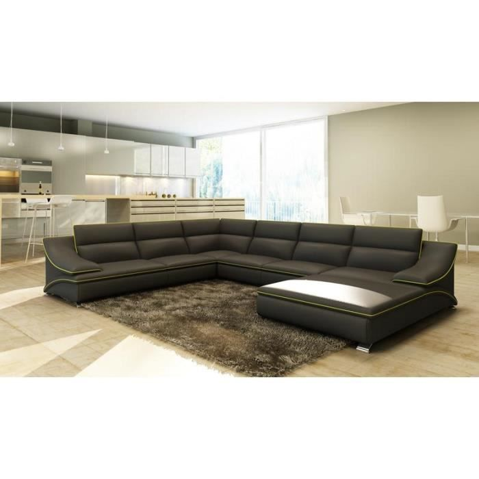 canap d 39 angle en cuir gris et vert design roxane achat vente canap sofa divan soldes. Black Bedroom Furniture Sets. Home Design Ideas
