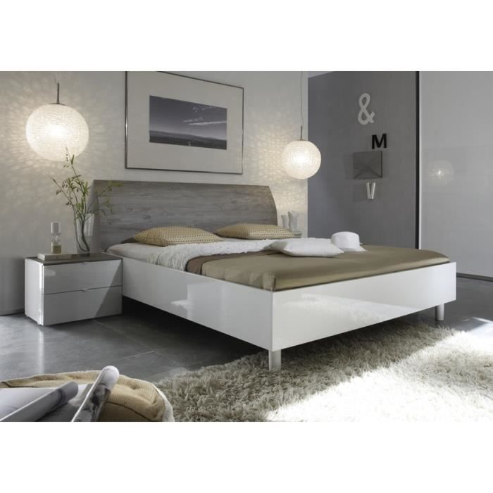 lit laqu blanc et t te de lit grise tamara 160x200 achat vente structure de lit soldes. Black Bedroom Furniture Sets. Home Design Ideas
