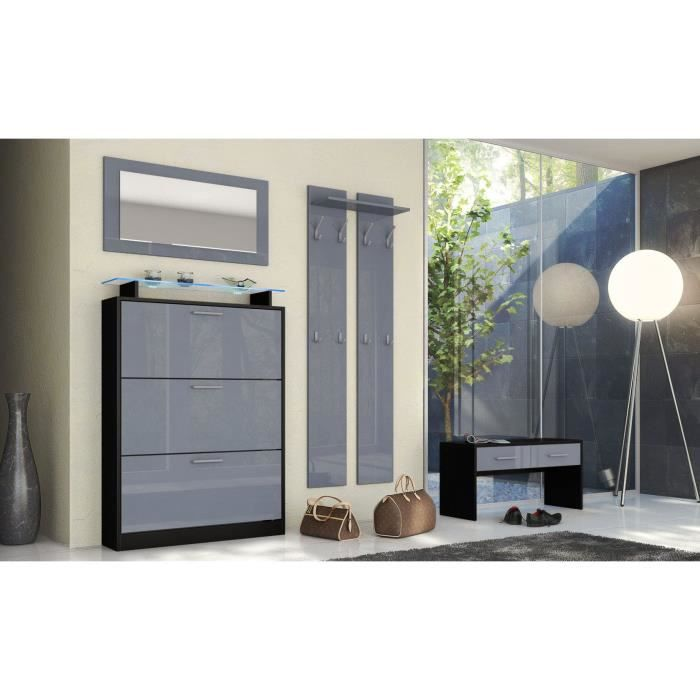 ensemble de meubles d entr e noir gris achat vente meuble d 39 entr e ensemble de meubles d. Black Bedroom Furniture Sets. Home Design Ideas