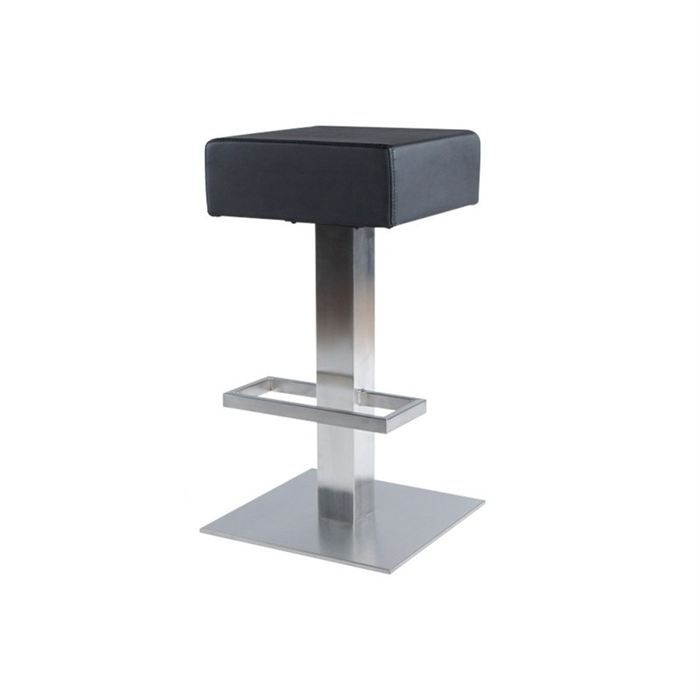 tabouret de bar sergio noir achat vente tabouret de bar cuir acier cdiscount. Black Bedroom Furniture Sets. Home Design Ideas
