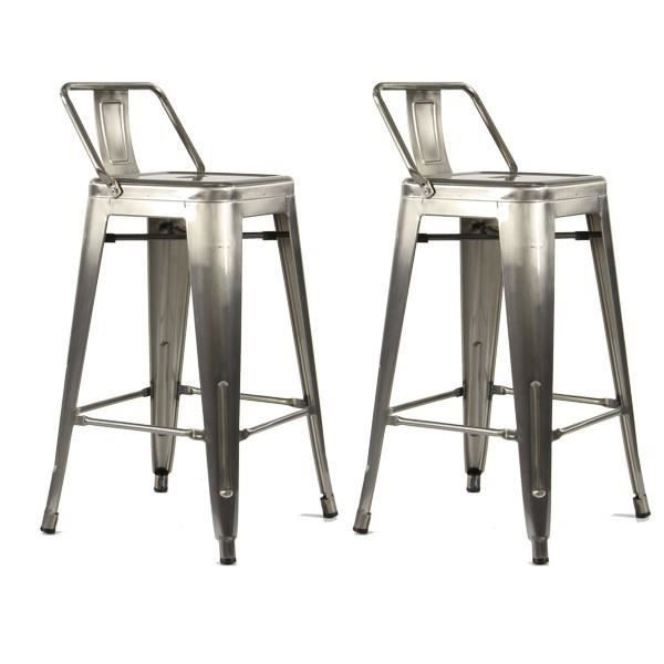 lot de 2 tabourets de bar 4 pieds m tal gris iron avec dossier 67 cm achat vente tabouret. Black Bedroom Furniture Sets. Home Design Ideas
