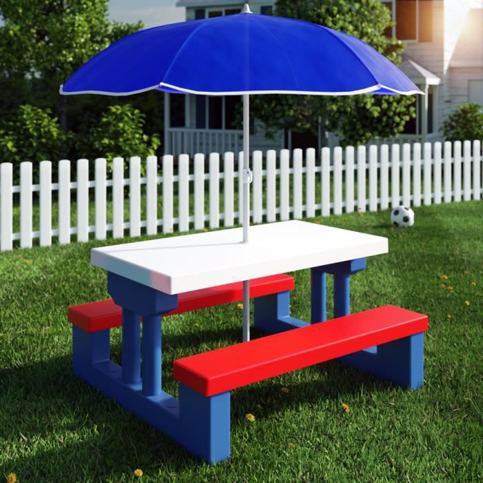 ensemble jardin enfant table bancs parasol achat. Black Bedroom Furniture Sets. Home Design Ideas
