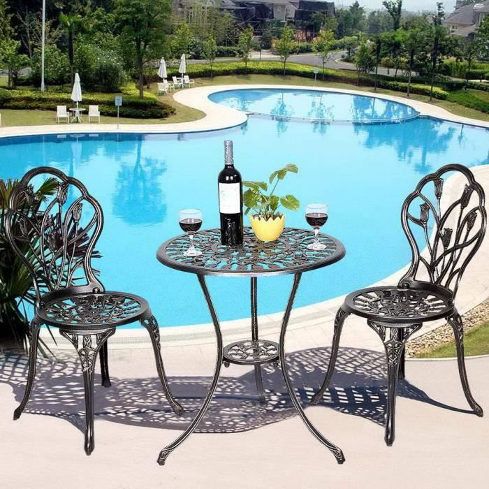 Table et 2 chaises de jardin salon de jardin en aluminium for Vente table jardin
