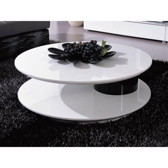 Table Basse Ronde Flavum Mdf Laque Blanc Noir Achat Vente