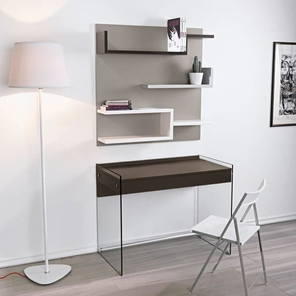 bureau multim dia alpha verre et bois chocolat salon salle manger bon prix moncornerdeco. Black Bedroom Furniture Sets. Home Design Ideas