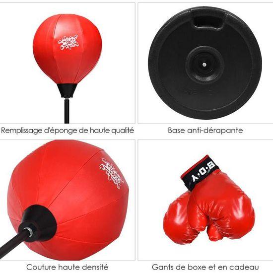 Homcom Punching Ball sur Pied pour Enfant Hauteur r/églable 78-120 cm Base de lestage Paire Gants Inclus Rouge Noir