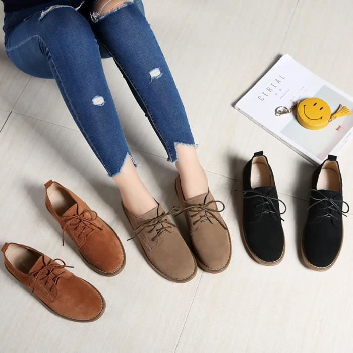 Autumn Shoes Casual Fashion Cattle Suede Breathable Round Toe Boots XEPE8 Taille-36 1-2