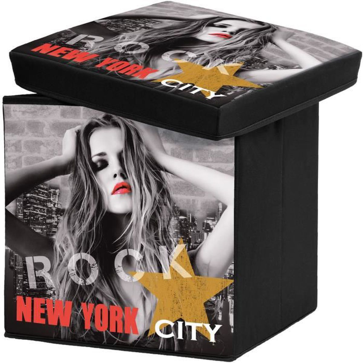 pouf new york tabouret coffre malle rangement g ant new york city pin up diva etoile 38 x 38 x. Black Bedroom Furniture Sets. Home Design Ideas