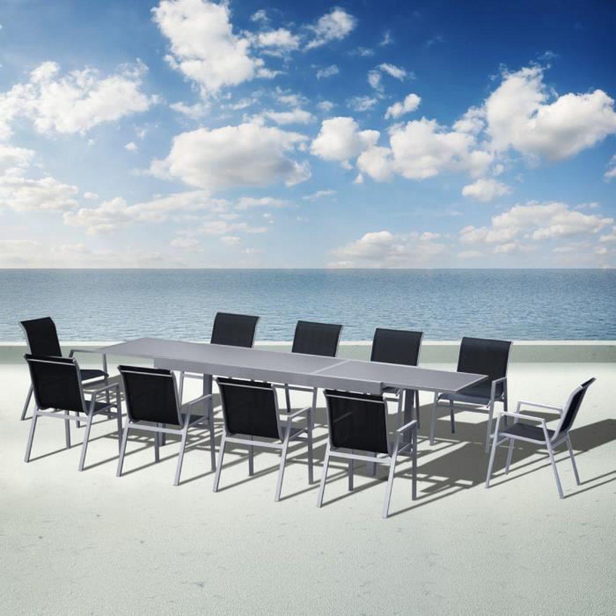 Salon de jardin en aluminium 1 table et 10 chaises ...