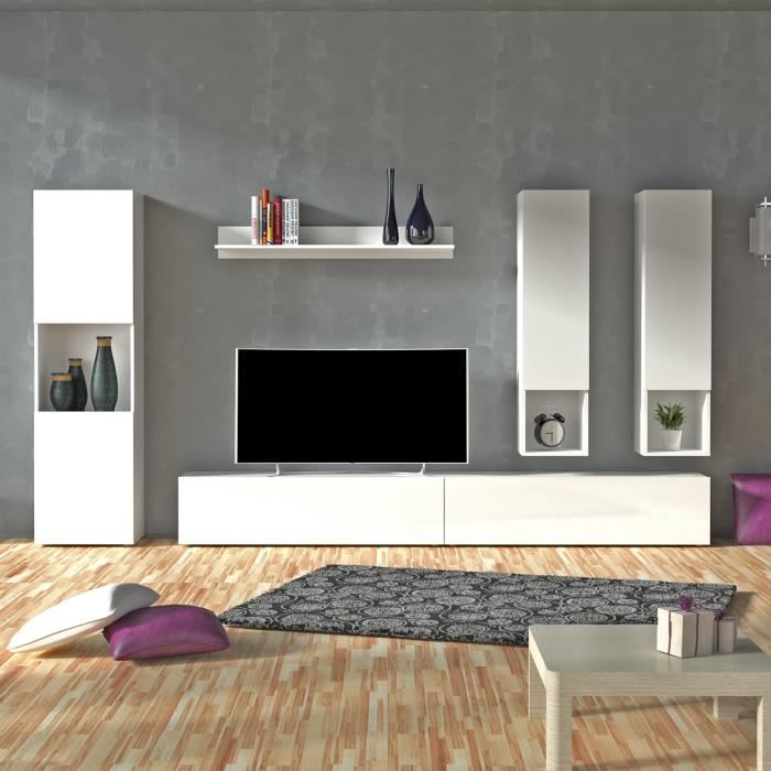 quest meuble tv mural 300cm laqu blanc comprenant 6 l ments achat vente meuble tv quest. Black Bedroom Furniture Sets. Home Design Ideas