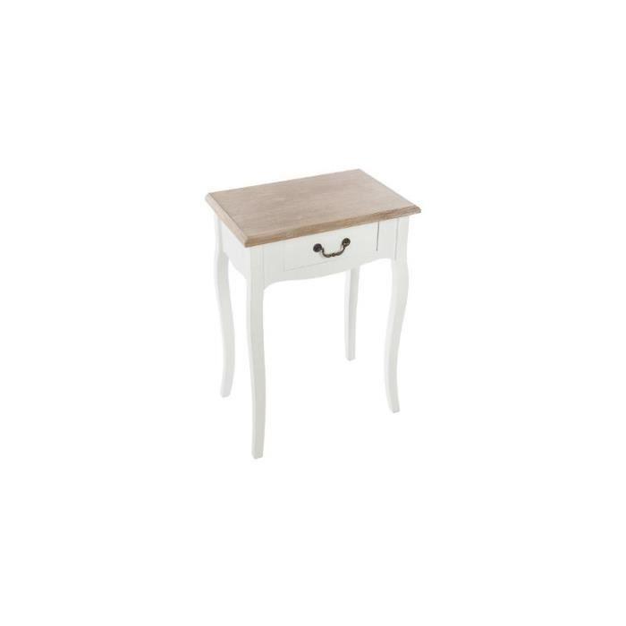 Table de chevet - Chrysa - L 47 x l 30 x H 65 cm - Blanc