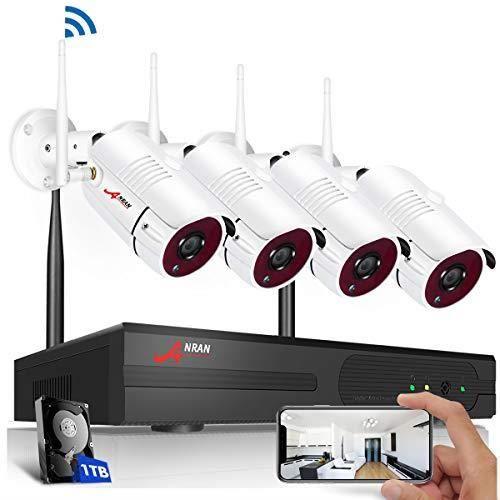 Système de Sécurité sans Fil,Kits de WiFi Vidéosurveillance ANRAN,4CH 1080p Camé