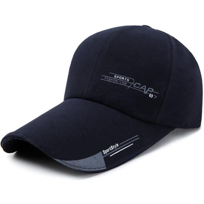 Bleu Marine Hommes Femmes Casquettes De Baseball Solides Réglable Snapback Long Peak Hat Casquette De Sport D 'Été