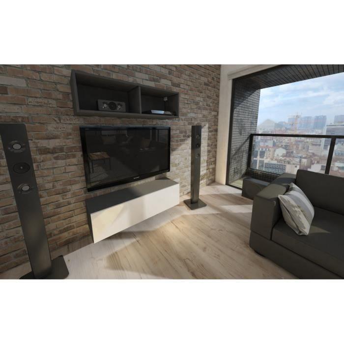 Meuble tv suspendu 105 cm blanc mat façade laqué noir