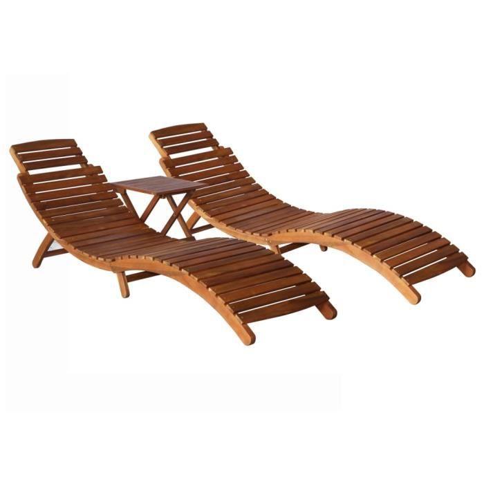 ❤Moderne Lot de 2 Chaises longues avec table Mode -Bain de soleil Bois d'acacia massif ��42451