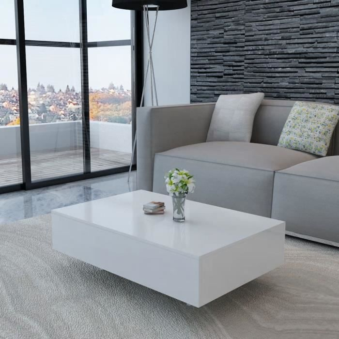 Table Basse de Salon Design Table de Salon scandinave Meuble de Rangement Haute brillance Blanche