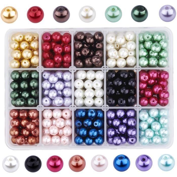 PandaHall - 450pcs 15 Couleurs Perle en Verre 8mm Perles Rondes Perles Nacrées Teint Environmental pour pour la Création de Bijo193