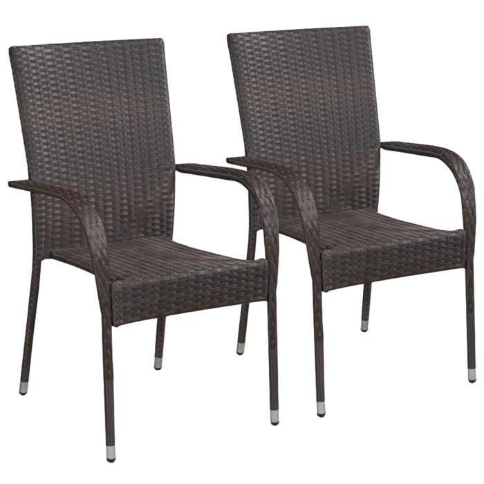 Lot de 2 Chaise de jardin empilables Fauteuil de Jardin Résine tressée Marron Nouveau *720541
