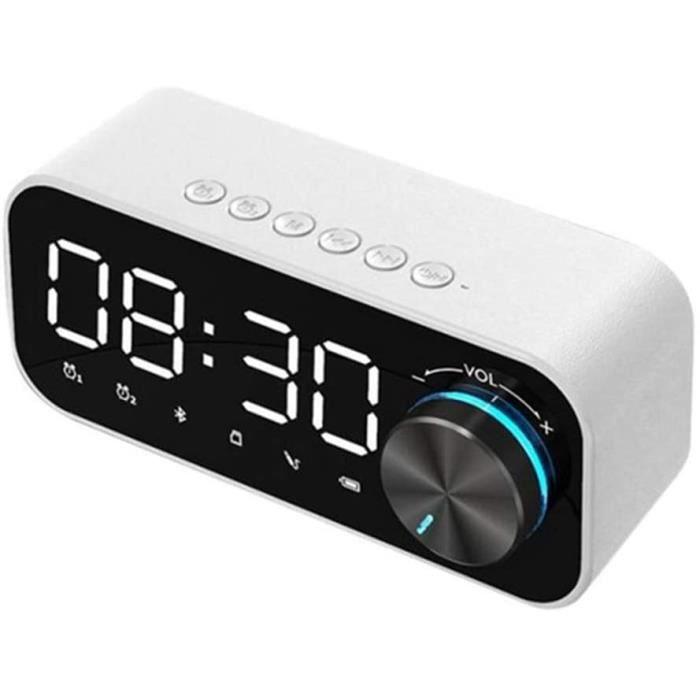 NIHE Haut-Parleur Bluetooth,Affichage Numérique, Radio-Réveil,Lecteur De Musique LED sans Fil pour Caisson De Basses,Blanc