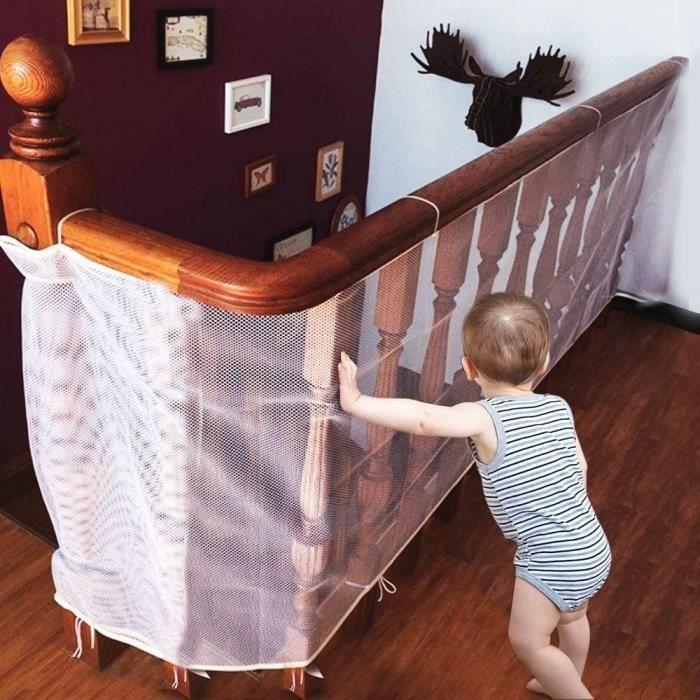 CestMall Filet de Protection Escalier-Balcon pour Bebe et Enfant, 300cm x 74cm Filet de S&eacutecurite Solide pour B&eacuteb&e61
