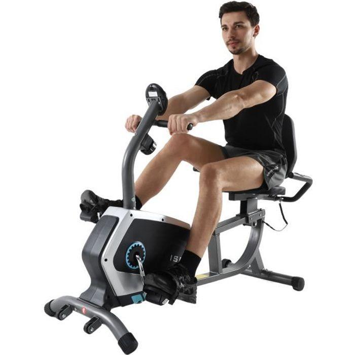 ISE Vélo d'appartement semi-allongé-Vélo Couché Magnétique-8 Niveaux de résistance réglables-Masse d'inertie 8 kg-Roues de Transport