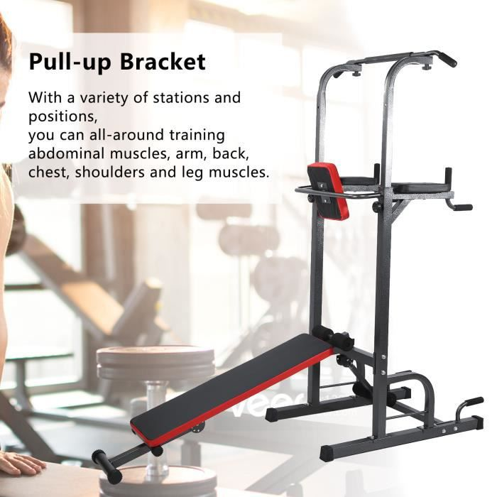 Station Traction dips Multifonctions Barre de Traction dips Banc de Musculation Power Tower Chaise HB042