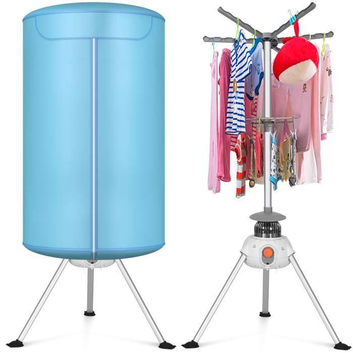 DREAMADE Sèche-linge Electrique Rond 900W pour Vêtement,Séchoir à Linge Electrique avec Temps Réglable,Chauffage par PTC