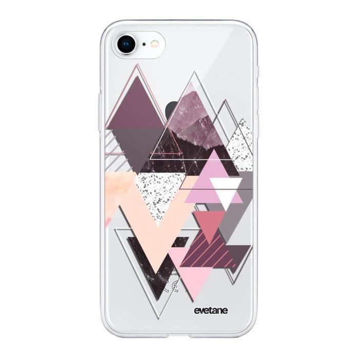 EVETANE Coque compatible avec Souple iPhone 7 iPhone 8 souple transparente Triangles Design Motif Ecriture Tendance