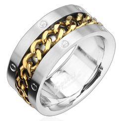 Anneau acier Gold Chain