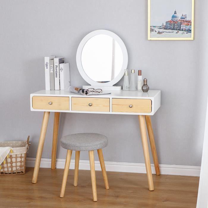 OOBEST® Coiffeuse Moderne, Table de Maquillage Miroir rond 3 Tiroir, Bois et blanc, en MDF Design scandinave