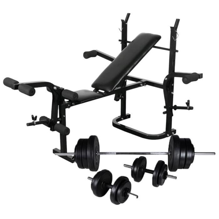 Banc de musculation pliable-Banc d'entraînement fitness sport avec support de poids jeu d'haltères 60,5kg