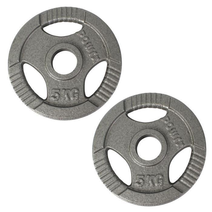 Jeu de plaques d'haltères Olympia 2 pièces pour les haltères - Ver .. Poids I Ø50mm Poids: 2 x 5 kg