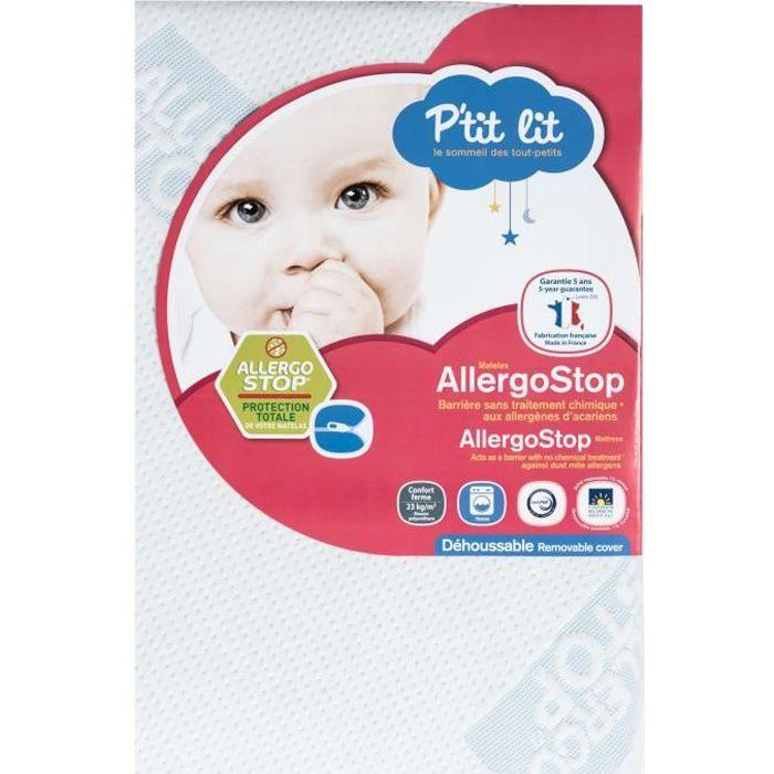 P'TIT LIT Matelas bébé AllergoStop - Anti-acariens - Déhoussable - Respirant - Fabrication française - 70 x 140 x 12 cm