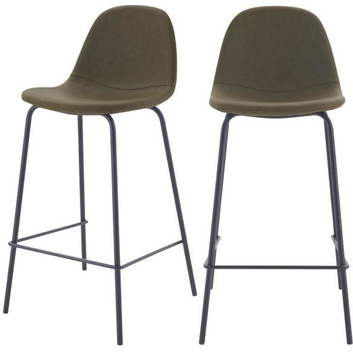 Chaise de bar Henrik vert kaki 65 cm (lot de 2)