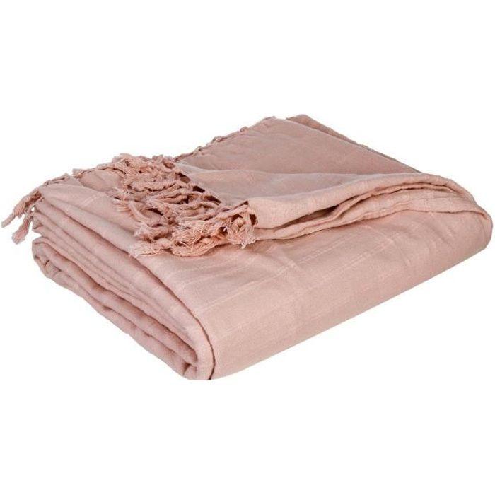 """JETÉE DE LIT - BOUTIS Couvre lit """"Charme"""" - Atmosphera 230 x 250 cm Rose"""