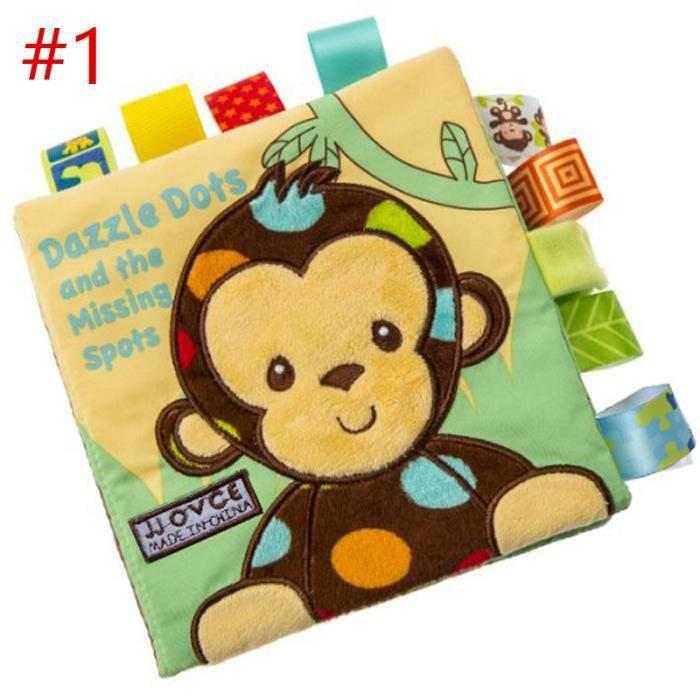Livre Tissu D Eveil Bebe Animal Singe Apprentissage Anglais Jouet Premier Age Educatif Cadeau Pour Nouveau Ne Enfant