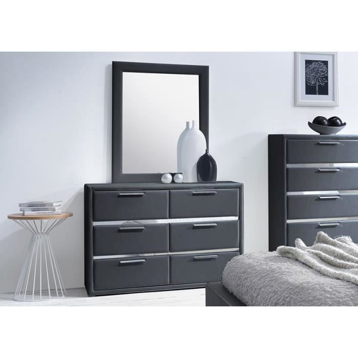 commode simili noir 6 tiroirs avec miroir exia achat vente commode de chambre commode simili. Black Bedroom Furniture Sets. Home Design Ideas