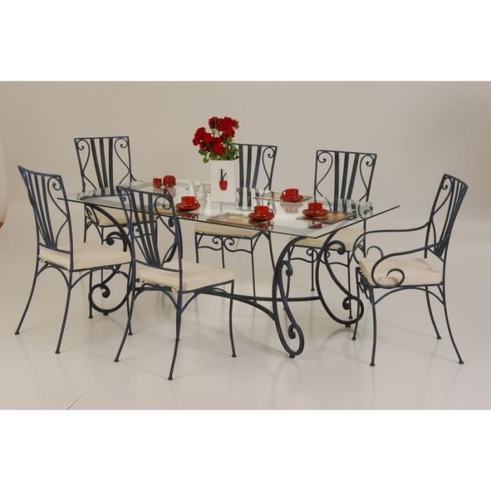 Table de repas fer forg 200cm vogue meuble house for Meuble en fer forge