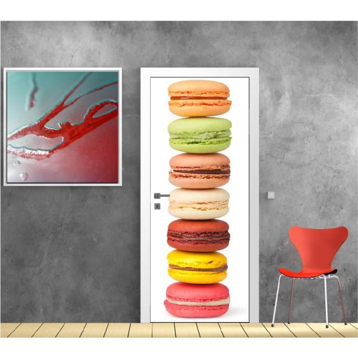affiche poster pour porte cuisine macaron r f 9511 dimensions 93x204cm achat vente affiche. Black Bedroom Furniture Sets. Home Design Ideas