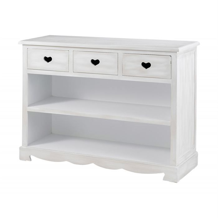 meuble console blanc 3 tiroirs et 2 niches charme achat. Black Bedroom Furniture Sets. Home Design Ideas