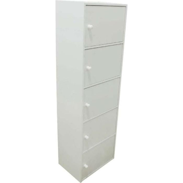 PETIT MEUBLE RANGEMENT  Bloc de rangement 5 portes blanc  133x40x29cm