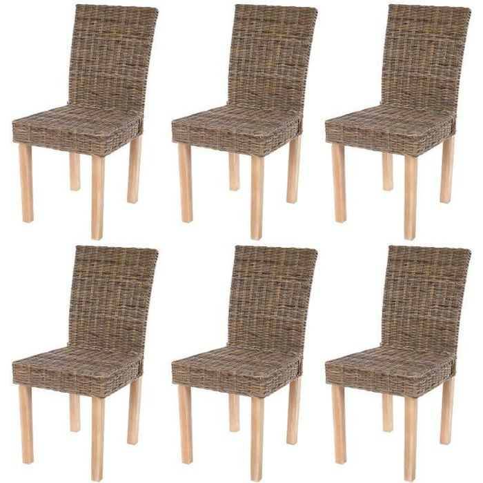 Lot de 6 chaises de s jour littau chaise en osier rotin for Chaise osier tresse