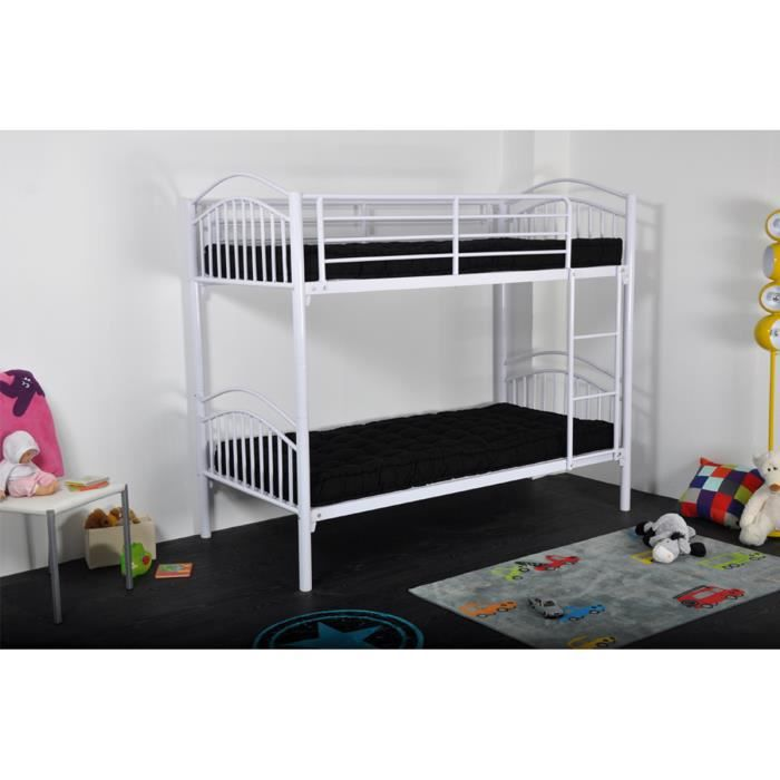 lits superposables 90x190 en m tal blanc bular achat. Black Bedroom Furniture Sets. Home Design Ideas