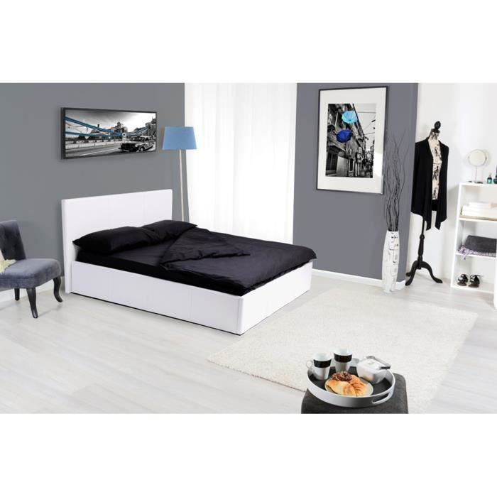 lit coffre 180x200 blanc avec sommier pvc cordoue. Black Bedroom Furniture Sets. Home Design Ideas