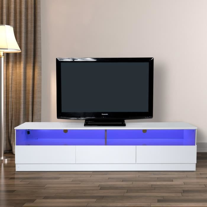 Meuble Tv Bas Banc Tv Design Contemporain Multi Rangements