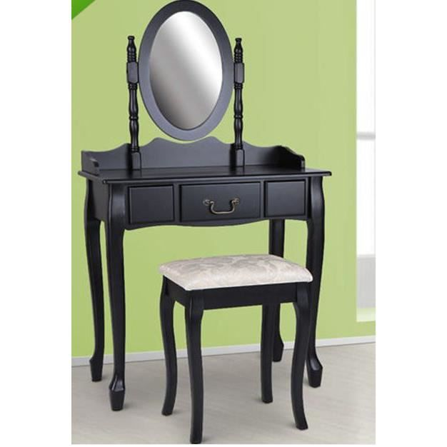 coiffeuse avec miroir et tabouret moncornerdeco. Black Bedroom Furniture Sets. Home Design Ideas